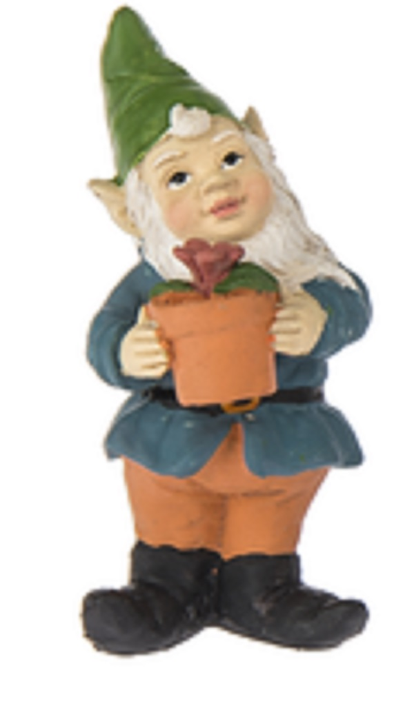 Fairy Garden Gnome Figure: Blue Coat and Green Hat By Ganz by