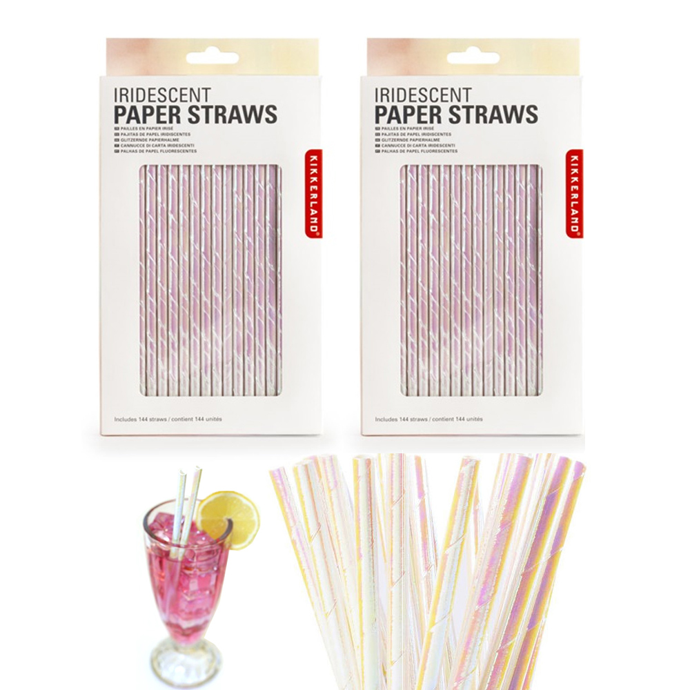 288 Pc Kikkerland Paper Straws Biodegradable Food Safe Iridescent Holographic