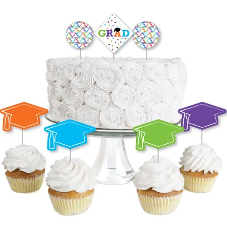Hats Off Grad - Dessert Cupcake Toppers - Graduation Party Clear Treat Picks - Set of 24 - Graduation Party Picks