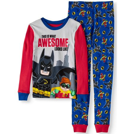 Lego Batman Glow in the Dark Fitted 'Awesome' 2 Piece Pajama Sleep Set (Big Boy & Little - Batman Pajamas Kids