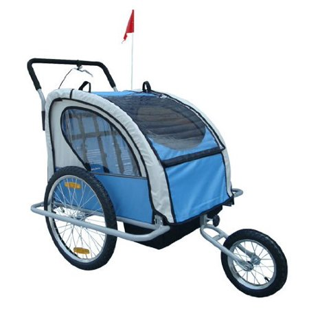 Aosom 2 In 1 Double Child Bike Trailer And Stroller Blue