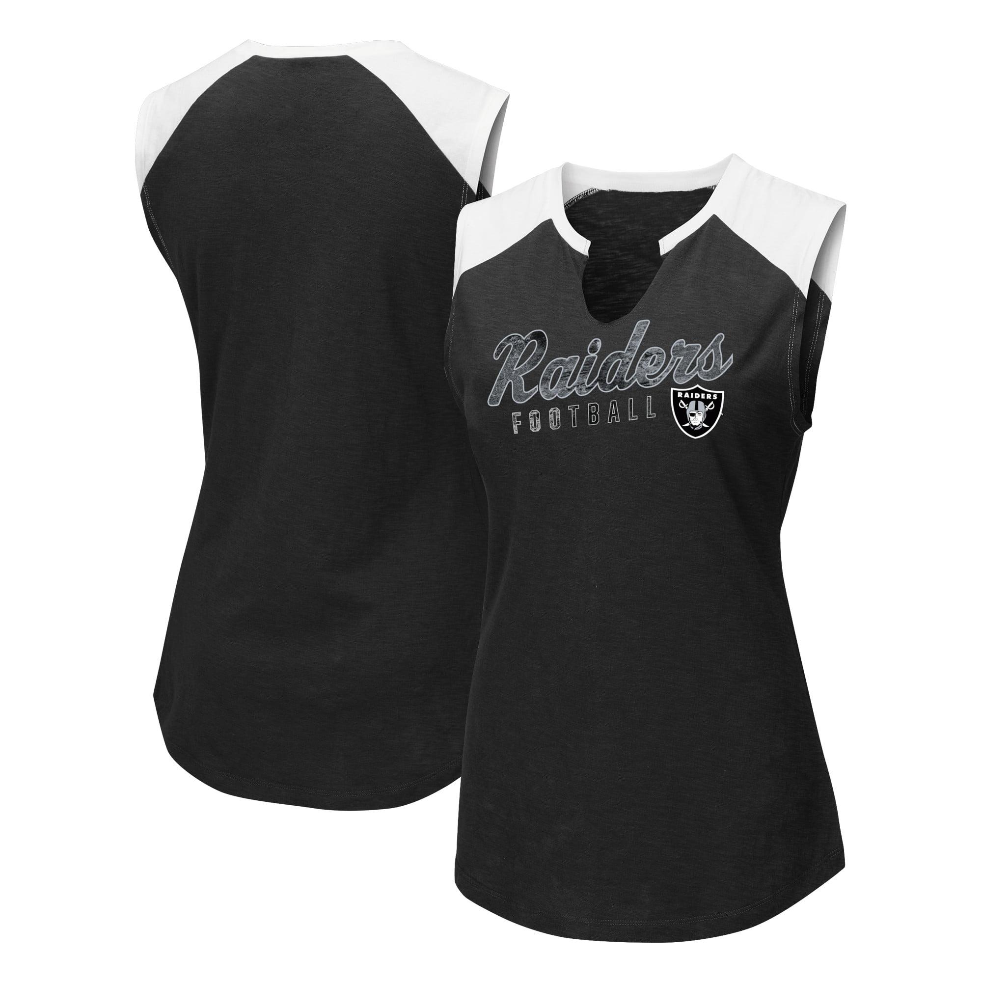 Oakland Raiders Majestic Women's V-Notch Muscle Tank Top - Black/White