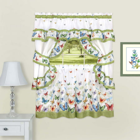 5-Piece Complete Window Kitchen Curtain Cottage Set, Contemporary Butterflies, Tier Panels, Valance with Attached Swaggers and Tiebacks ()