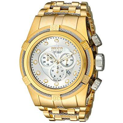 Invicta Men's Bolt Reserve Chronograph 18K Gold Plated Steel White Mop Dial Movement: Quartz