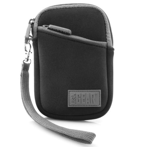 Compact Digital Camera Carrying Case with Neoprene Cushion , Belt Loop and Wrist Strap by USA GEAR - Works with Nikon 1 J5 , Coolpix AW130 , S33 , L31 and More Nikon Digital Cameras