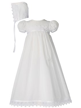 "Girls 26"" Cotton Christening Baptism Special Occasion Gown with Venice Lace"