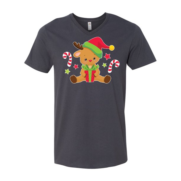 Cute Christmas Reindeer with Presents and Candy Canes Men's V-Neck T-Shirt