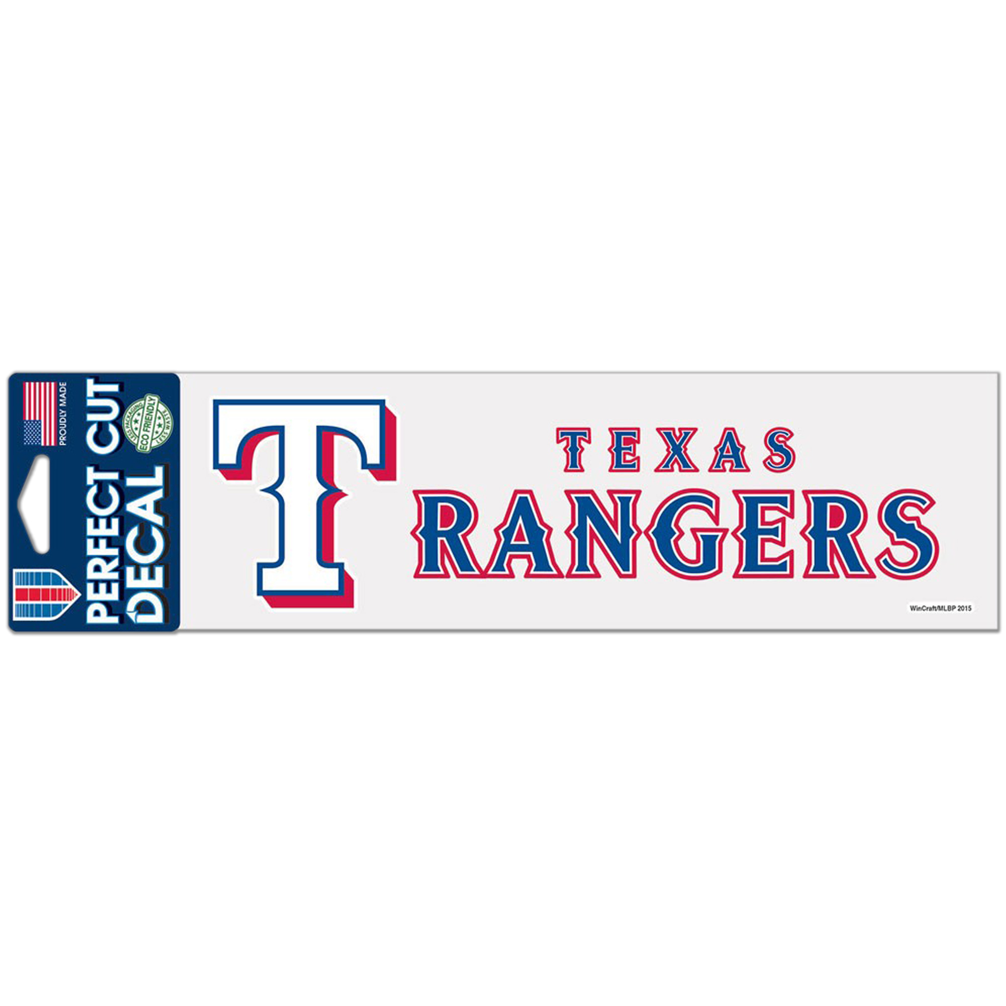 "Texas Rangers WinCraft 3"" x 10"" Logo & Name Perfect Cut Decal - No Size"