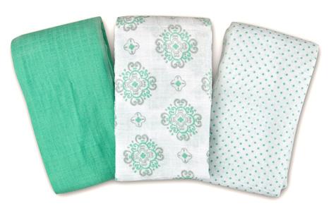 Summer Infant SwaddleMe Muslin Blanket 3-Pack Ornate Geo by Summer Infant