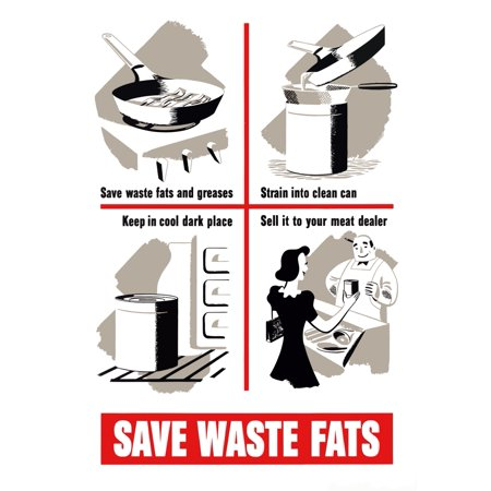 Digitally restored war propaganda poster This vintage World War Two poster features ways to save cooking fats and greases and shows a woman giving them to her butcher It declares - Save Waste Fats Pos