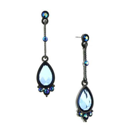1928 Jewelry Black Tone Blue Linear Teardrop Earrings