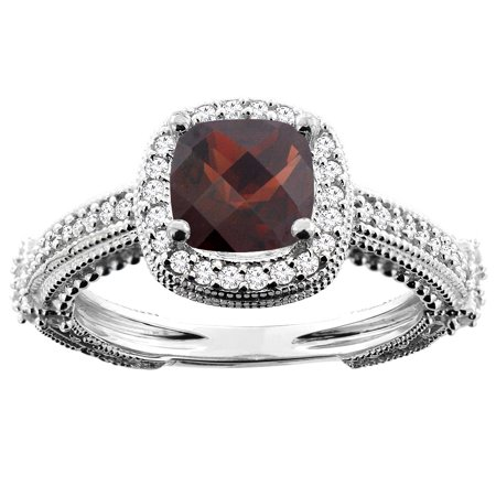 10K White Gold Natural Garnet Ring Cushion 7x7mm Diamond Accent, size