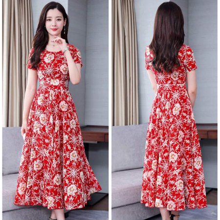 Women Summer Fashion Flower Printing Thin Waist Short Sleeve Large Hem Long Dress red M - 1960 Flower Power Fashion