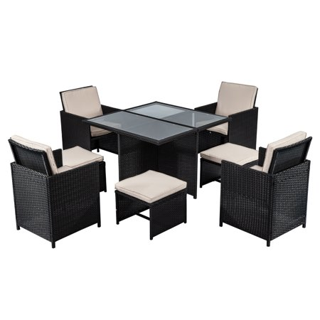 Patio Furniture Set 9 Pcs Patio Outdoor Dining Sets Pe Rattan Wicker