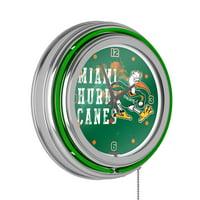 University of Miami Chrome Double Rung Neon Clock - Smoke
