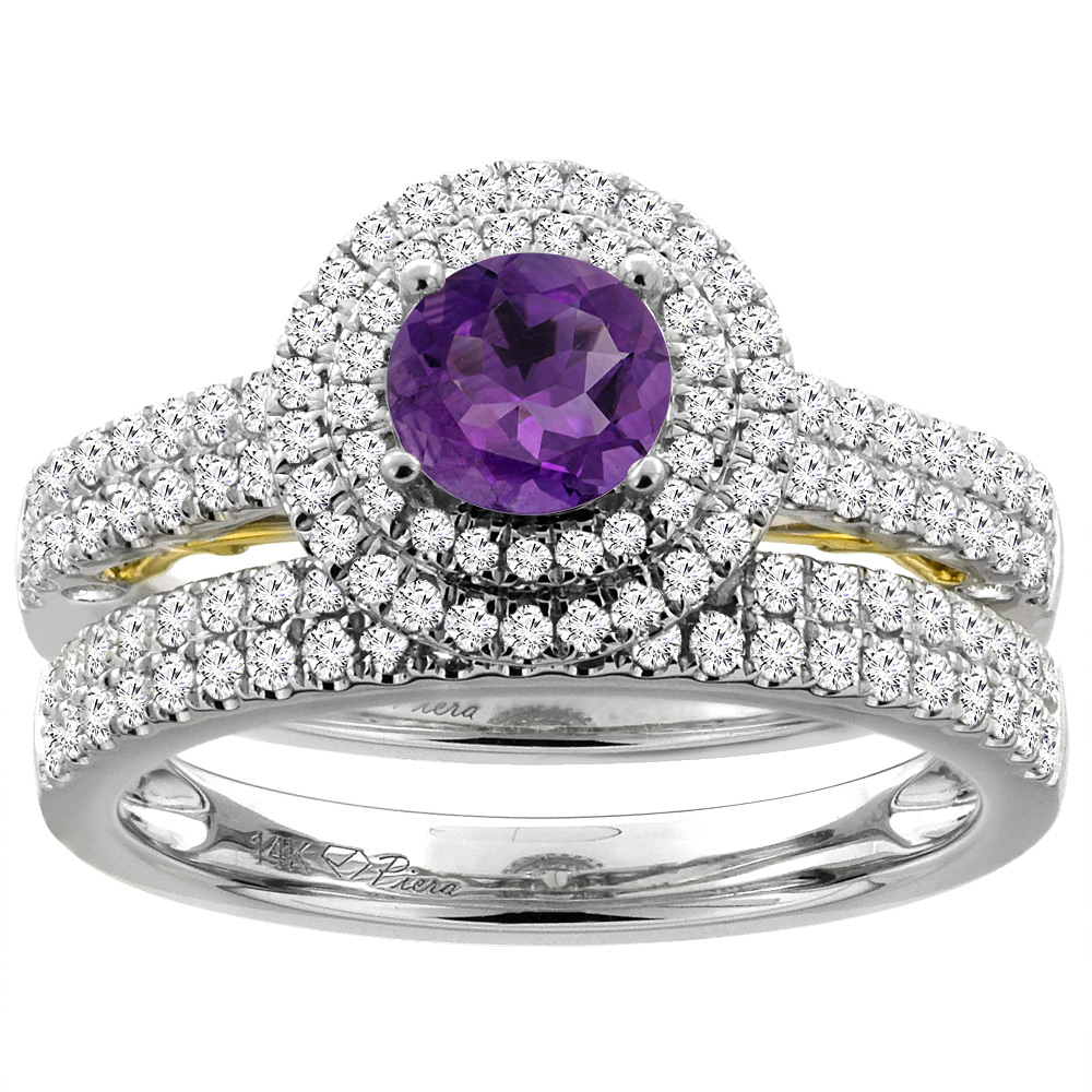 14K White Gold Diamond Natural Amethyst Halo Engagement Bridal Ring Set Round 6 mm, size 5 by Gabriella Gold