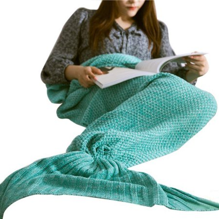 Luckyauction Mermaid Blanket For All Season Super Soft Fish Tail Sleeping Bags for Kids Adult, Green, 70.9