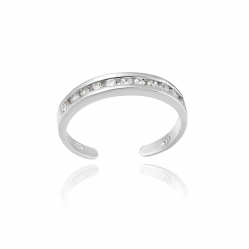 CZ Channel-Set Sterling Silver Toe Ring