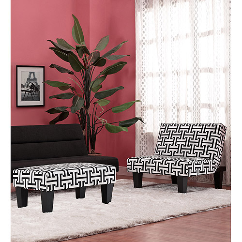 Kebo Chair & Ottoman, Black and White Geometric