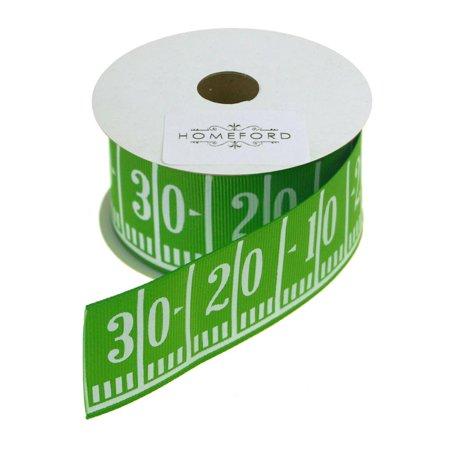 Football Field Yard Line Grosgrain Ribbon, Green, 1-1/2-Inch, 3 Yards