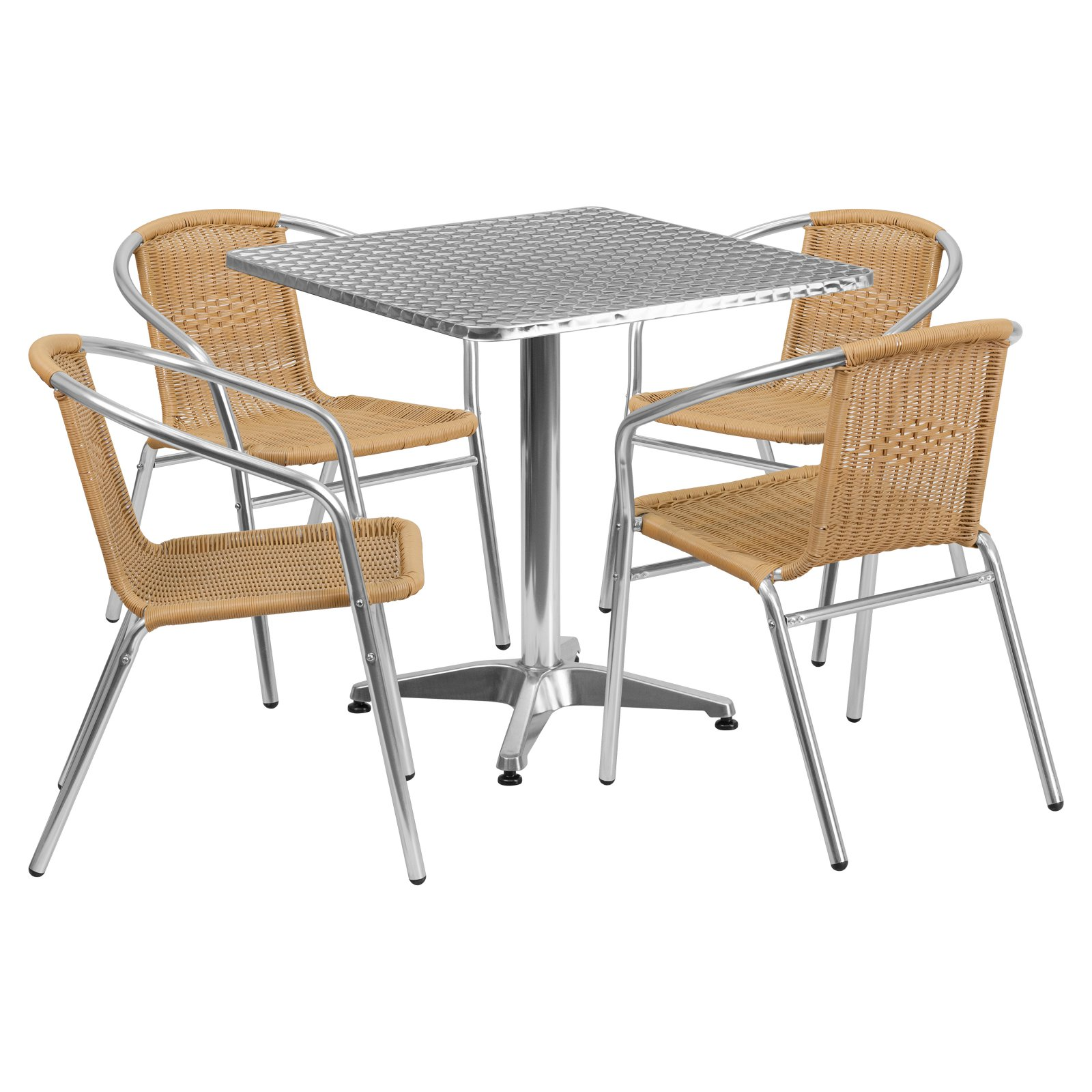 Flash Furniture 27.5'' Square Aluminum Indoor-Outdoor Table with 4 Rattan Chairs, Multiple Colors