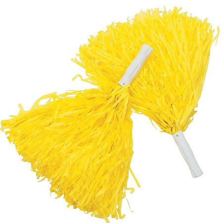 Yellow Pom-Poms (Pair) Cheerleader Cheer Leader Squad Pep Costume Accessory