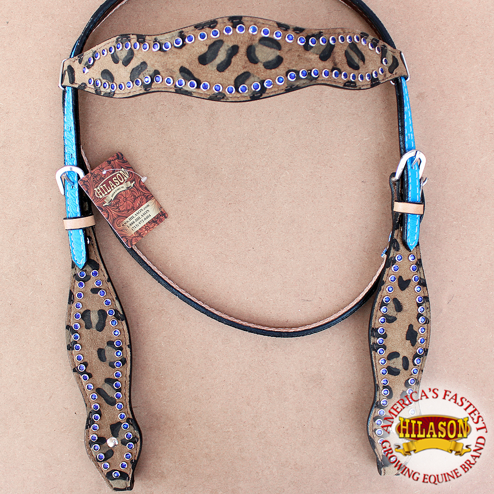 HILASON WESTERN AMERICAN LEATHER HORSE HEADSTALL CHEETAH LEOPARD BLUE CRYSTALS