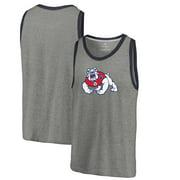 Fresno State Bulldogs Fanatics Branded Primary Logo Tri-Blend Tank Top - Heathered Gray