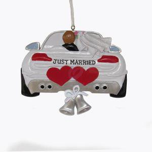 Wedding Car Just Married Resin Ornament for Personalization
