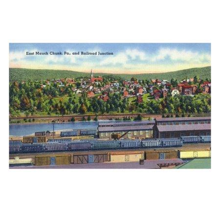 Mauch Chunk Pennsylvania - Jim Thorpe, Pennsylvania - View of East Mauch Chunk and Rr Junction Laminated Print Wall Art By Lantern Press