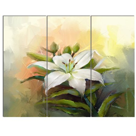 Lilies Oil Painting - Design Art 'White Lily Flower Oil Painting' 3 Piece Painting Print on Wrapped Canvas Set
