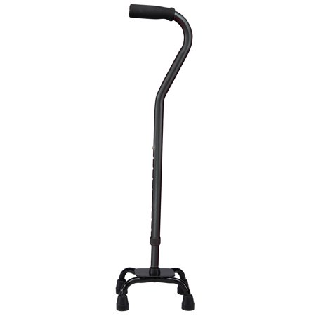 Carex Offset Quad Cane Small Base, (Adjustable Aluminum Quad Cane)
