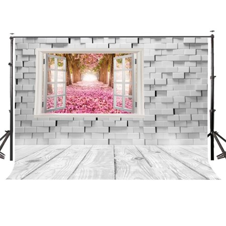 HelloDecor Polyster 7x5 Ft Window Brick Wall Wooden Floor Out Of The Window Cherry Blossoms World Studio Photography Backdrop](Wizard Of Oz Backdrop)