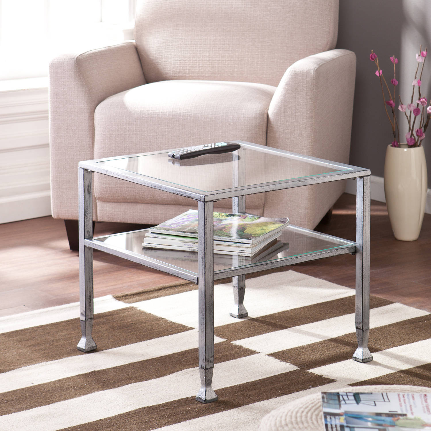 Blundell Metal/Glass Cocktail Table, Silver