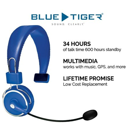 Blue Tiger Elite Bluetooth Headset- Over Head Driver Hands Free Wireless HD Noise Canceling Multiple Device Connect Loud Speaker Foldable Headphones Flexible Headband and Boom Microphone 34H Talk (Wireless Headset Microphone Powered Speaker)