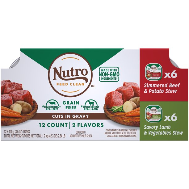(12 Pack) NUTRO Adult High Protein Natural Grain Free Wet Dog Food Cuts in Gravy Simmered Beef & Potato Stew and Savory Lamb & Vegetable Stew Variety Pack, 3.5 oz. Trays