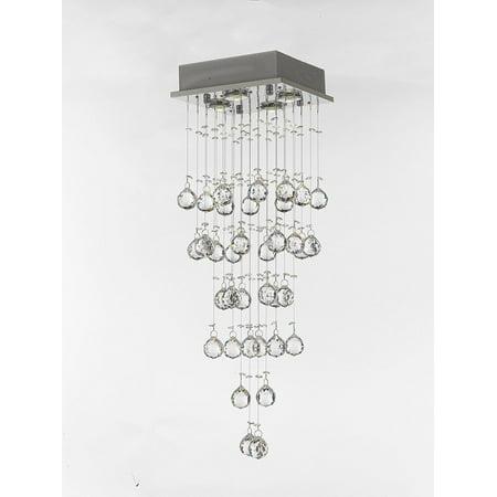 - Modern Crystal Rain Drop Chandelier 4 Lights with 40MM Crystal Balls