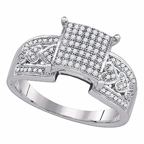 Roy Rose Jewelry 10K White Gold Womens Diamond Square Cluster Heart Bridal Wedding Engagement Ring 1/3-Carat tw