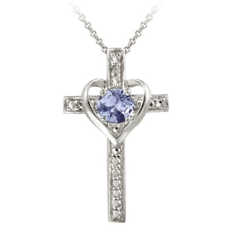 Sterling Turquoise Cross (Sterling Silver Tanzanite & Diamond Accent Cross Heart Necklace)