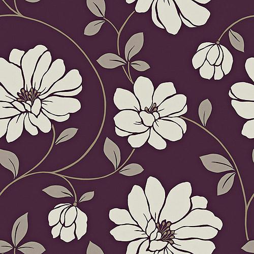 Blue Mountain Mega Flowers Wallcovering, Plum Purple/Silver/White