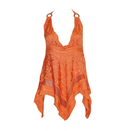 Mogul Womens Orange Strap Top Gypsy Hippie Embroidered Crochet Laces Blouse M
