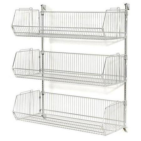 Nexel Industries WMB23201 Chrome Basket Shelving Unit with 12 in. Adjustable Wire Baskets - 36 x 20 x 34 in. Nexel Chrome Wire Shelf