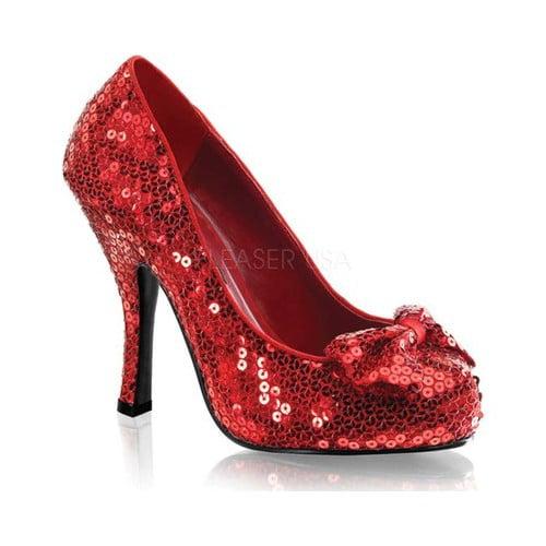 OZ-06, 4 1/2'' Heel, 3 4'' Hidden  Sequin Bow Pump Shoes