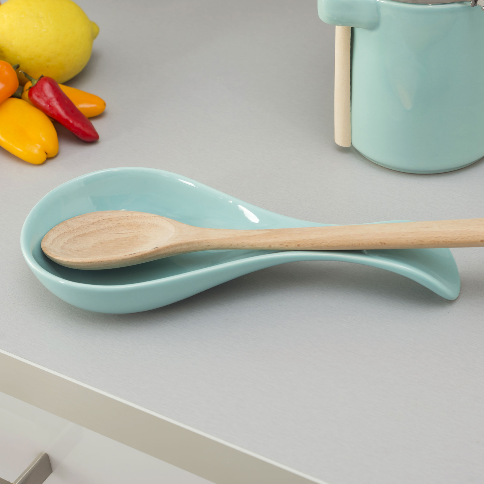 Home Basics Ceramic Hot Cooking Utensil Holder And Kitchen Spoon Rest, Turquoise