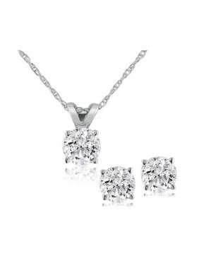 2f7a3a52f307 Product Image Pompeii3 Diamond Solitaire Necklace   Studs Earrings Set 1 2  Carat (Ctw) 14K