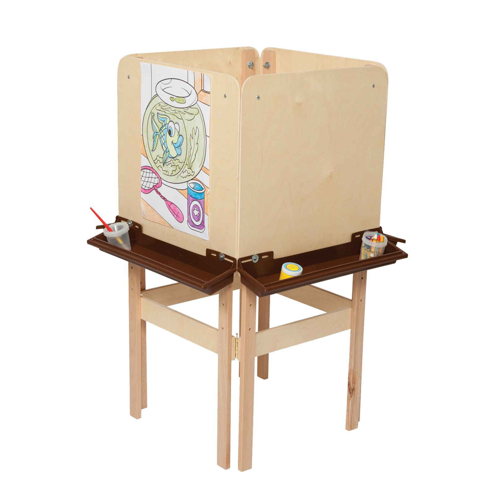 Wood Designs 4 Sided Easel with Plywood and Brown Trays