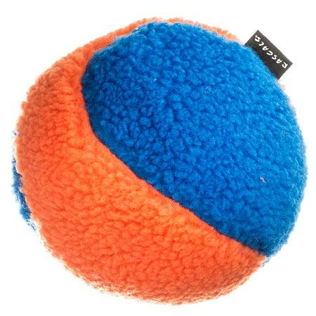 Fleece Squeaky Toy - Rascals Fleece Ball Dog Toy - Orange & Blue 6\