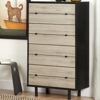 South Shore Morice Mid-Century 4-Drawer Chest, Ebony and Rustic Oak