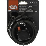 Bell ARMORY 200 6' x 8mm Cable and Key Padlock, Black