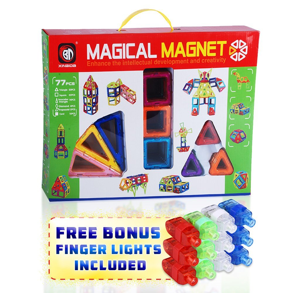 Kids Toys Magical Magnets Logic Blocks Training Creativity Toy Set for Children 77 PC Educational Learning Kit... by Transformania Toys